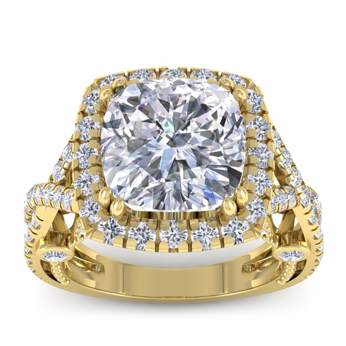 Image of 9 Carat Cushion Cut Halo Diamond Engagement Ring In 18 Karat Yellow Gold, Center 6.93ct, Perfect D Color, SI1 Clarity
