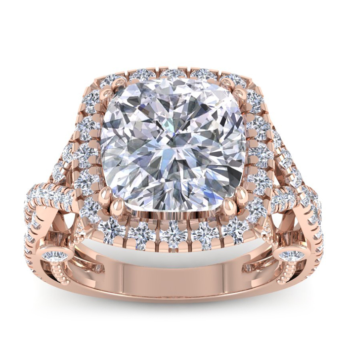 Image of 9 Carat Cushion Cut Halo Diamond Engagement Ring In 18 Karat RoseGold, Center 6.93ct, Perfect D Color, SI1 Clarity