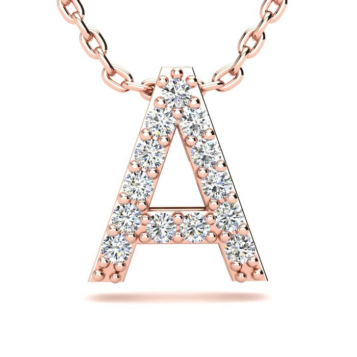 A Initial Necklace in 14K Rose Gold (2.4 g) w/ 13 Diamonds, H/I, 18 Inch Chain by SuperJeweler