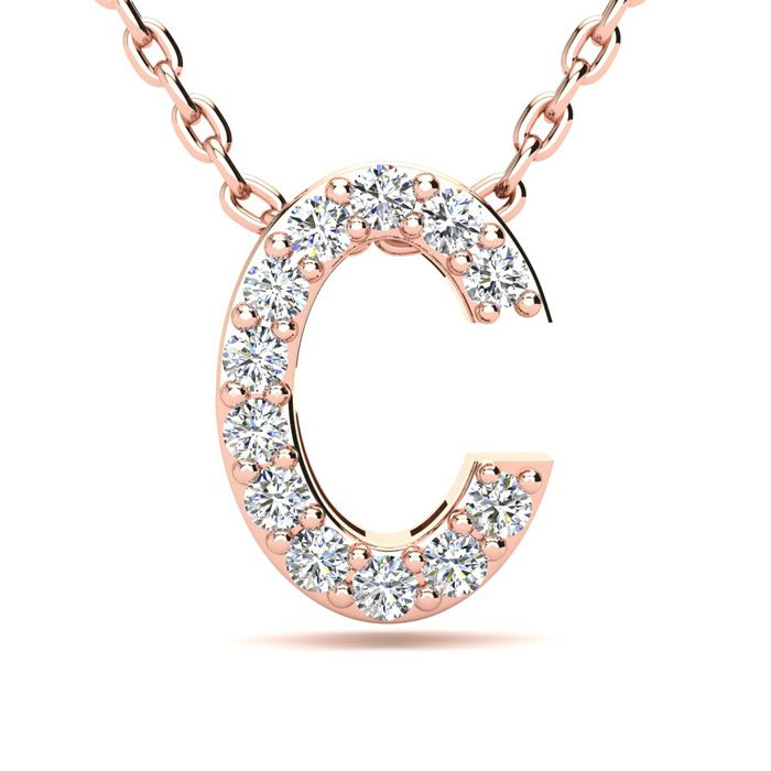 C Initial Necklace in 14K Rose Gold (2.4 g) w/ 12 Diamonds, H/I,