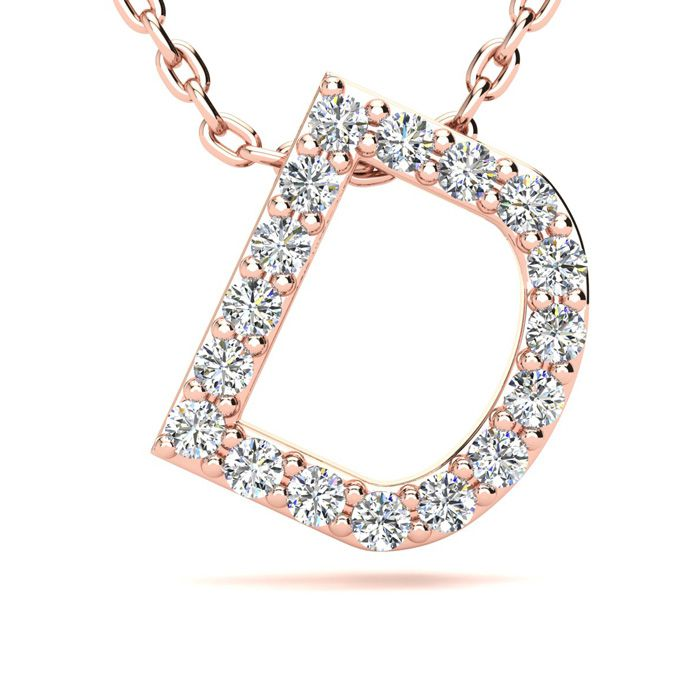 D Initial Necklace in 14K Rose Gold (2.4 g) w/ 17 Diamonds, H/I,