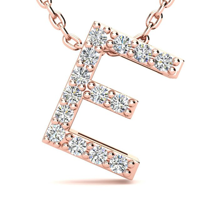 E Initial Necklace In 14K Rose Gold