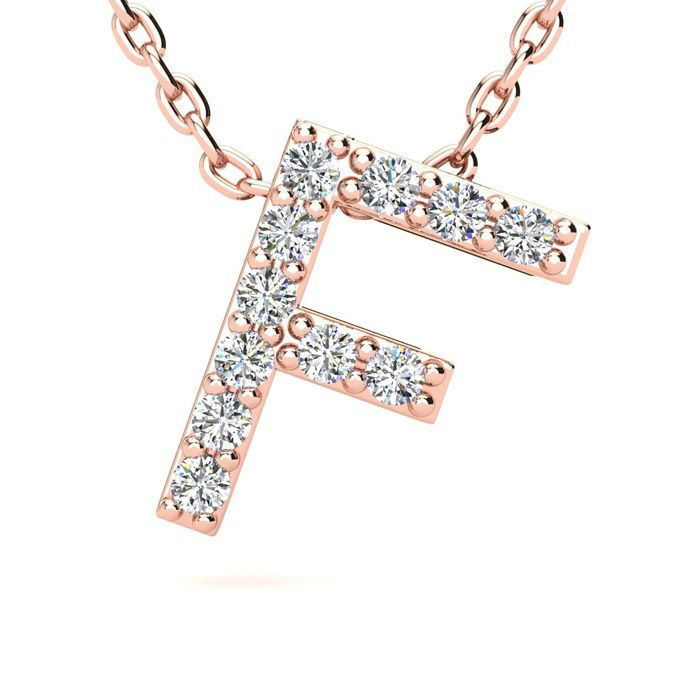 F Initial Necklace in 14K Rose Gold (2.4 g) w/ 11 Diamonds, H/I,