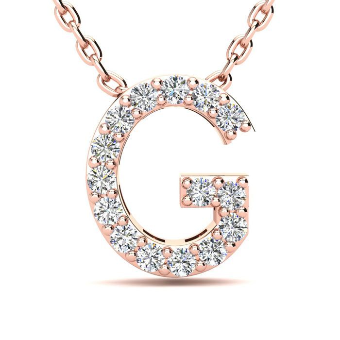 G Initial Necklace In 14K Rose Gold
