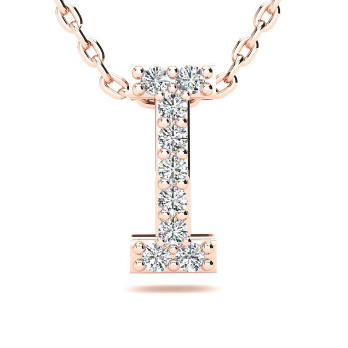 I Initial Necklace in 14K Rose Gold (2.4 g) w/ 9 Diamonds, H/I, 1