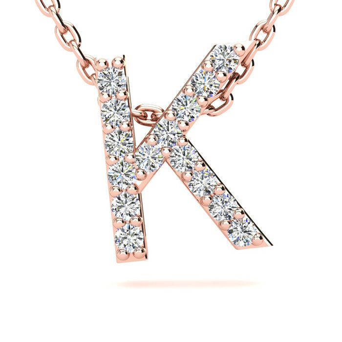 K Initial Necklace in 14K Rose Gold (2.4 g) w/ 15 Diamonds, H/I,