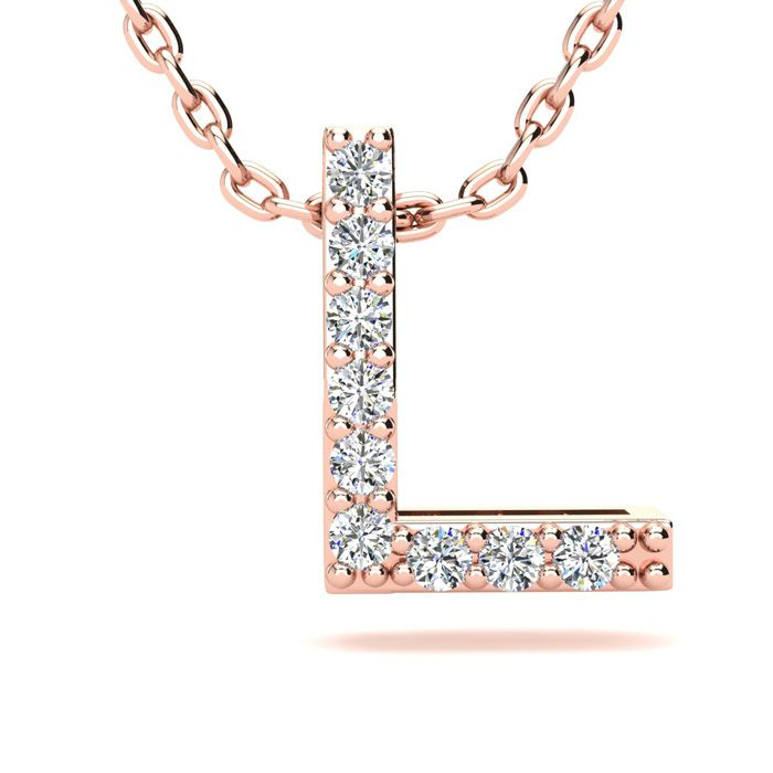 L Initial Necklace in 14K Rose Gold (2.4 g) w/ 9 Diamonds, H/I, 1