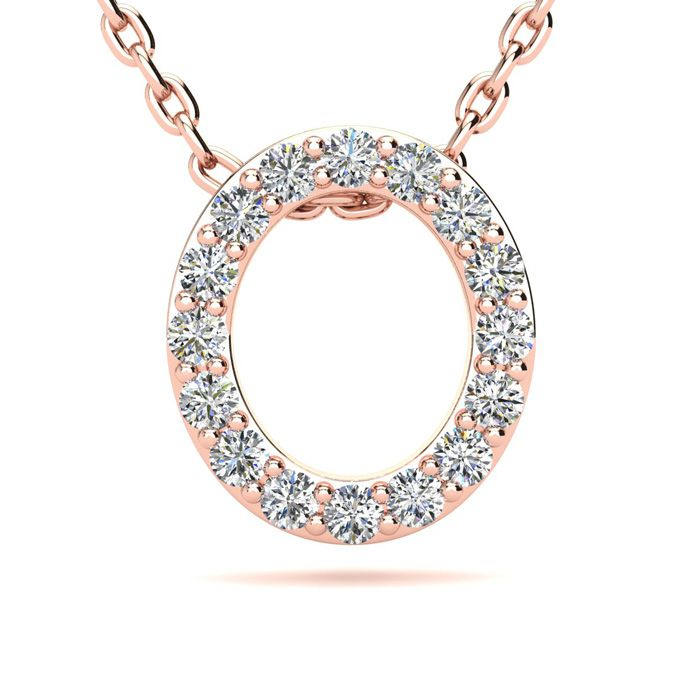 O Initial Necklace in 14K Rose Gold (2.4 g) w/ 16 Diamonds, H/I, 18 Inch Chain by SuperJeweler