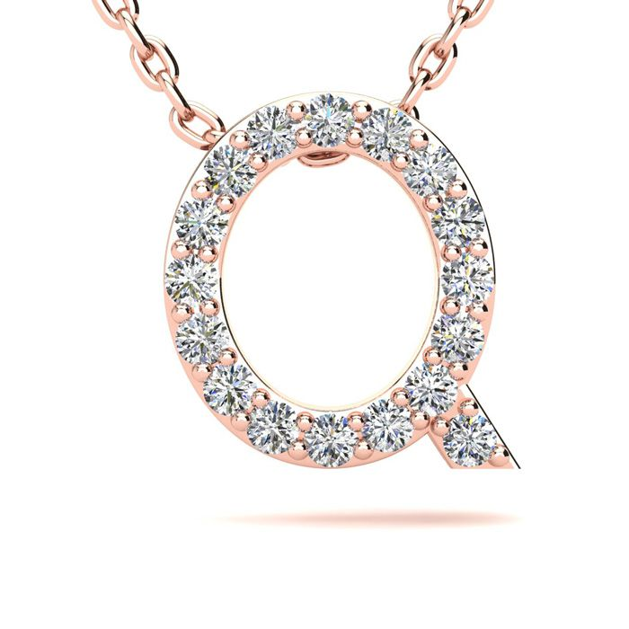 Q Initial Necklace in 14K Rose Gold (2.4 g) w/ 17 Diamonds, H/I,