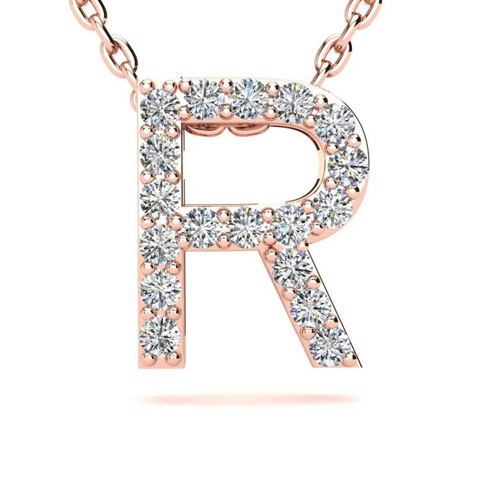 R Initial Necklace in 14K Rose Gold (2.4 g) w/ 18 Diamonds, H/I,