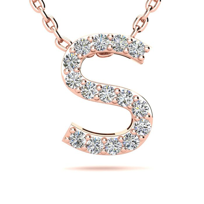 S Initial Necklace in 14K Rose Gold (2.4 g) w/ 15 Diamonds, H/I,
