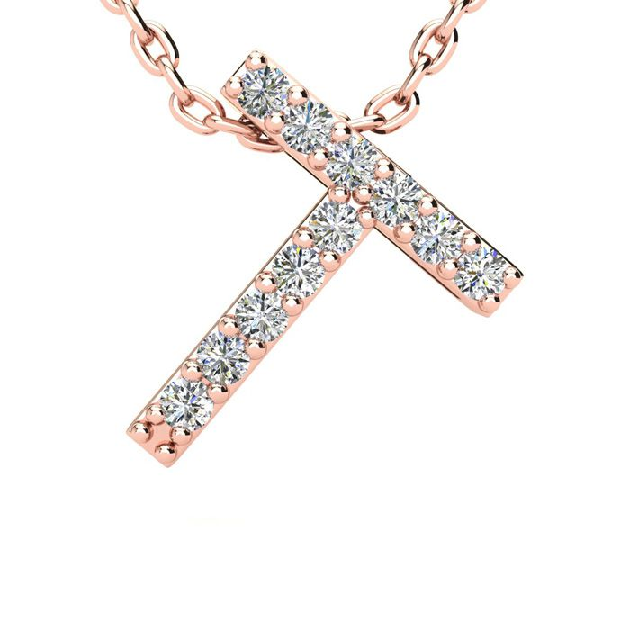 T Initial Necklace in 14K Rose Gold (2.4 g) w/ 11 Diamonds, H/I,