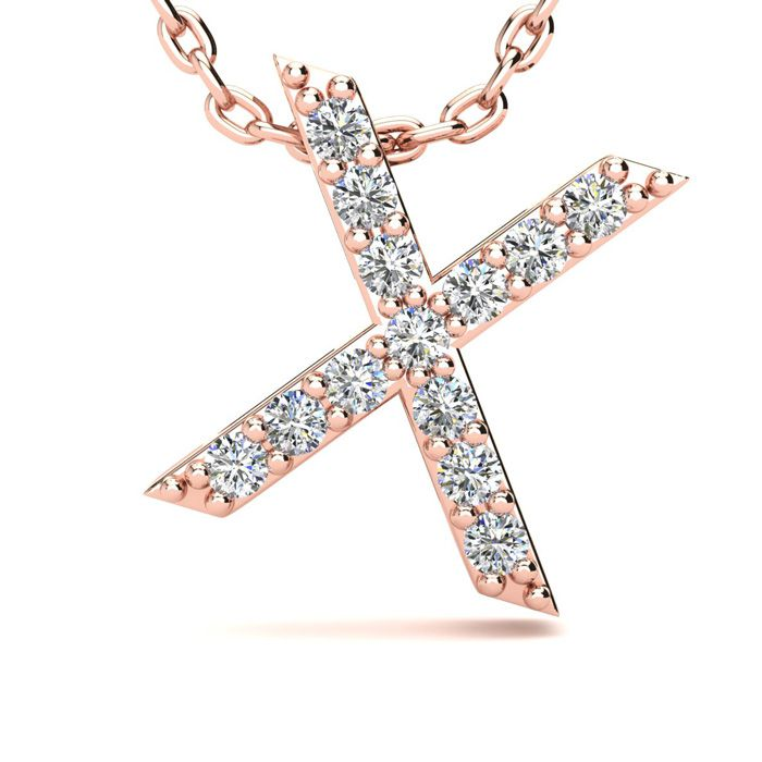 X Initial Necklace in 14K Rose Gold (2.4 g) w/ 13 Diamonds, H/I,