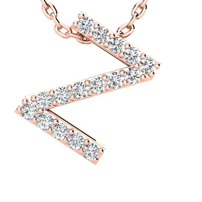 Z Initial Necklace in 14K Rose Gold (2.4 g) w/ 16 Diamonds, H/I, 18 Inch Chain by SuperJeweler