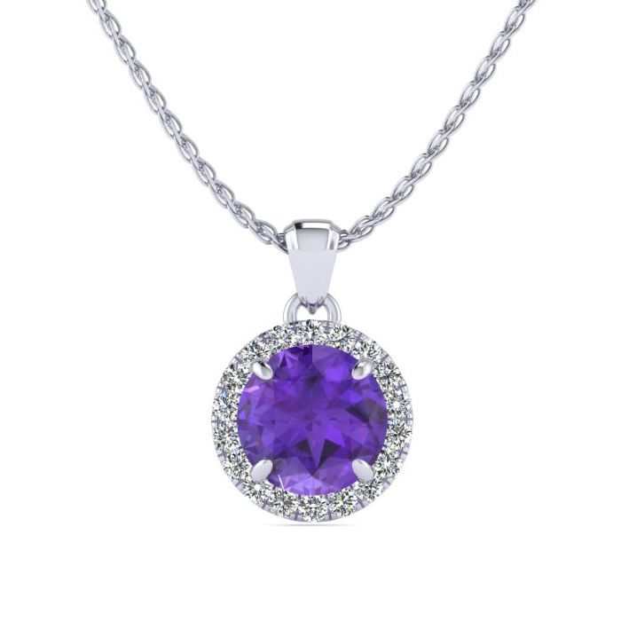 3/4 Carat Round Shape Amethyst & Halo Diamond Necklace in 14K Whi