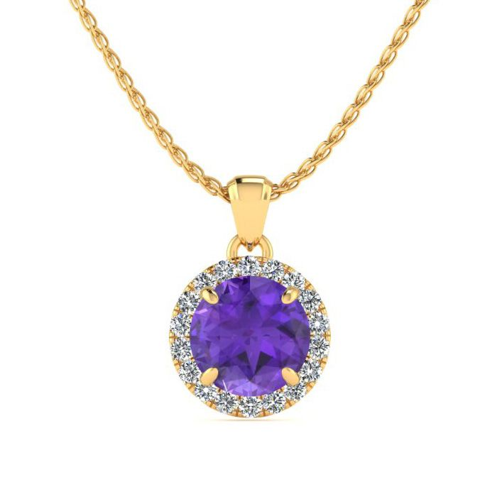 3/4 Carat Round Shape Amethyst & Halo Diamond Necklace in 14K Yel