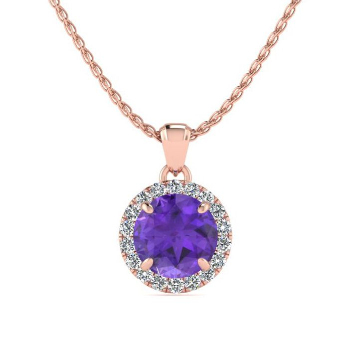 3/4 Carat Round Shape Amethyst & Halo Diamond Necklace in 14K Ros