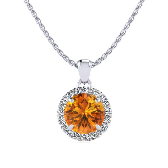 3/4 Carat Round Shape Citrine & Halo Diamond Necklace in 14K Whit