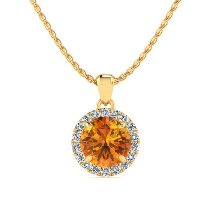3/4 Carat Round Shape Citrine & Halo Diamond Necklace in 14K Yell