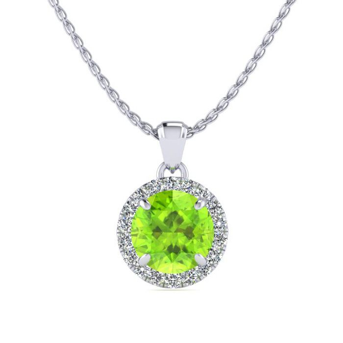 1 Carat Round Shape Peridot & Halo Diamond Necklace in 14K White