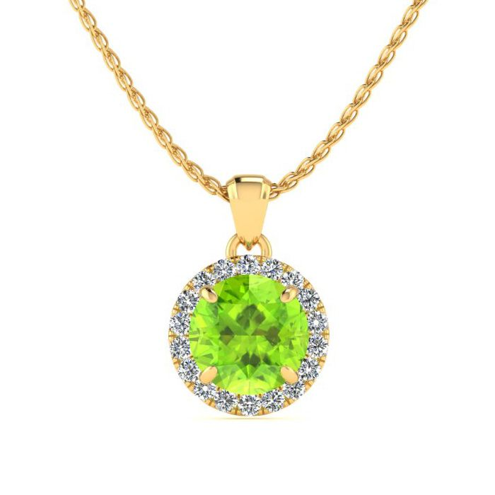 1 Carat Round Shape Peridot & Halo Diamond Necklace in 14K Yellow