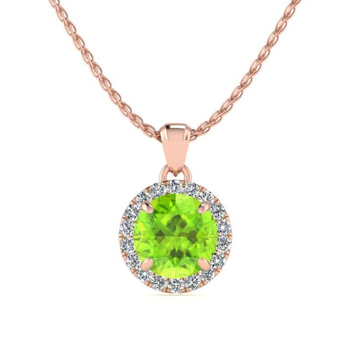 Image of 1 Carat Round Shape Peridot and Halo Diamond Necklace In 14 Karat Rose Gold