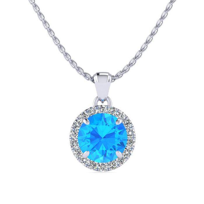 1 Carat Round Shape Blue Topaz & Halo Diamond Necklace in 14K Whi