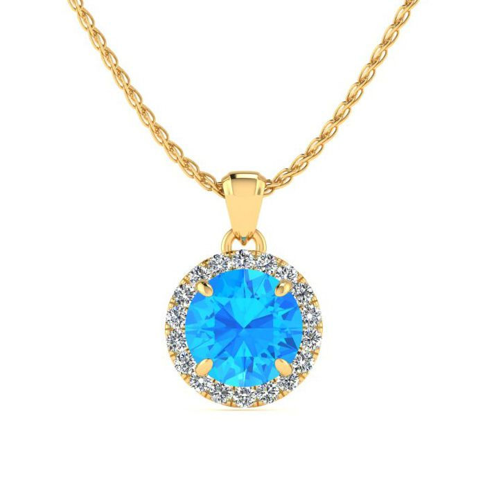 Image of 1 Carat Round Shape Blue Topaz and Halo Diamond Necklace In 14 Karat Yellow Gold