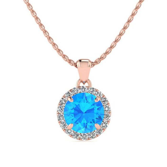 Image of 1 Carat Round Shape Blue Topaz and Halo Diamond Necklace In 14 Karat Rose Gold
