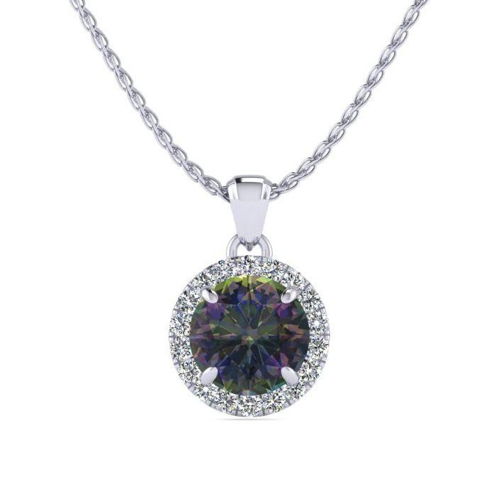3/4 Carat Round Shape Mystic Topaz & Halo Diamond Necklace in 14K