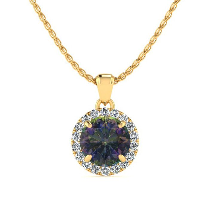 3/4 Carat Round Shape Mystic Topaz & Halo Diamond Necklace in 14K
