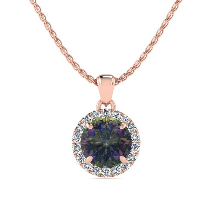 Image of 3/4 Carat Round Shape Mystic Topaz and Halo Diamond Necklace In 14 Karat Rose Gold
