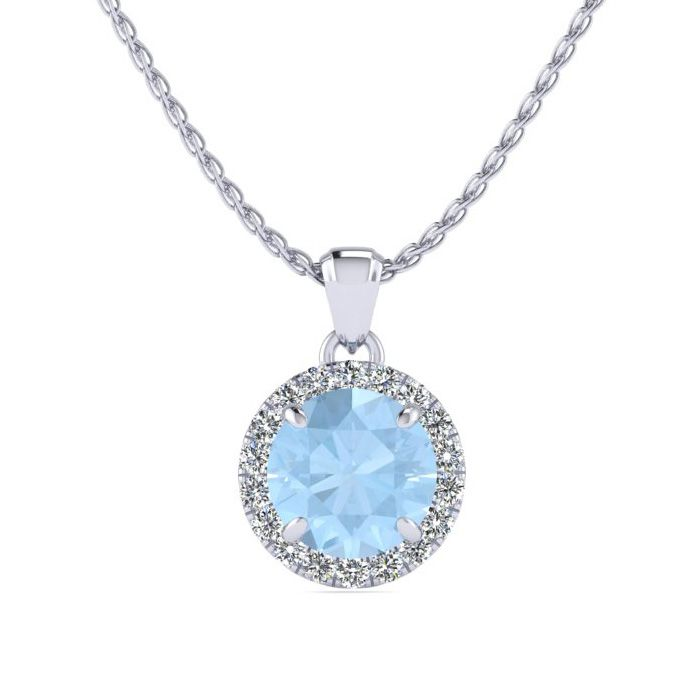 1 Carat Round Shape Aquamarine and Halo Diamond Necklace In 14 Karat White G..