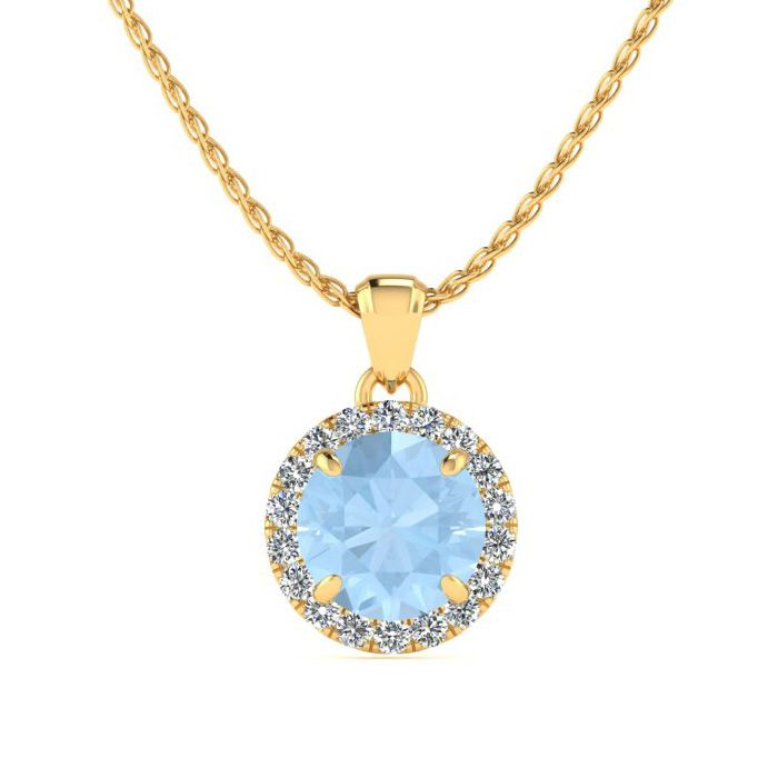 1 Carat Round Shape Aquamarine & Halo Diamond Necklace in 14K Yel