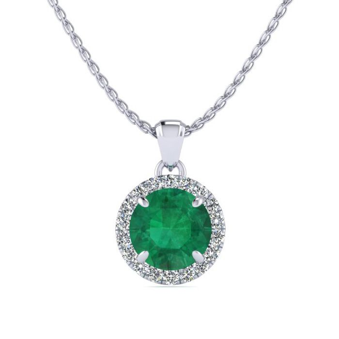 1 Carat Round Shape Emerald Cut & Halo Diamond Necklace in 14K Wh
