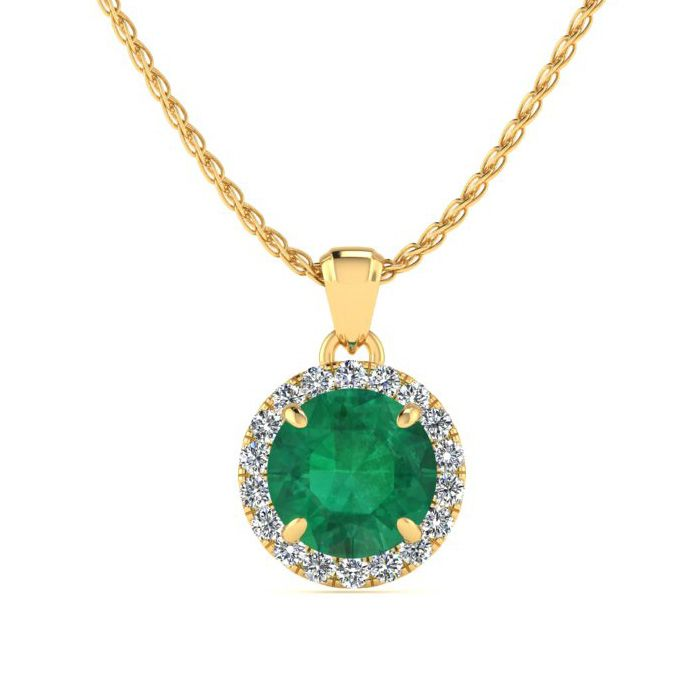 1 Carat Round Shape Emerald Cut & Halo Diamond Necklace in 14K Ye