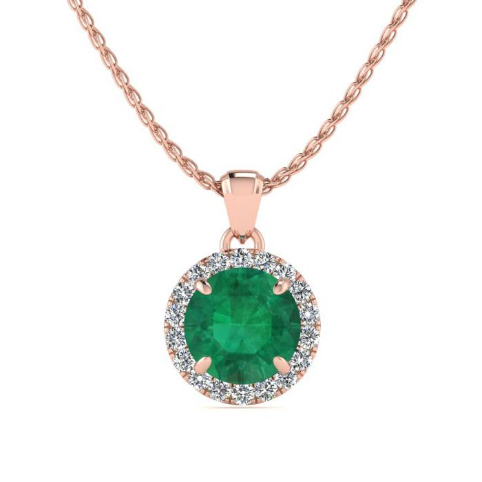 1 Carat Round Shape Emerald Cut & Halo Diamond Necklace in 14K Ro