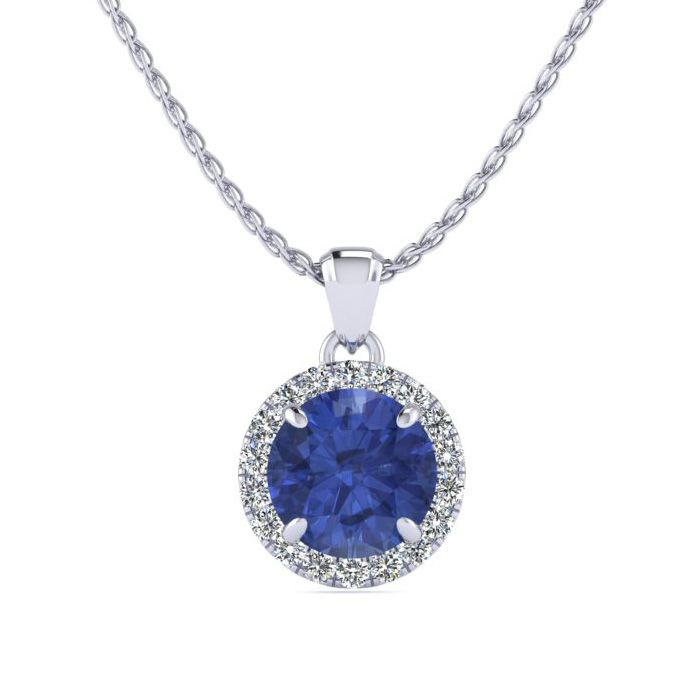 1 Carat Round Shape Tanzanite & Halo Diamond Necklace in 14K Whit