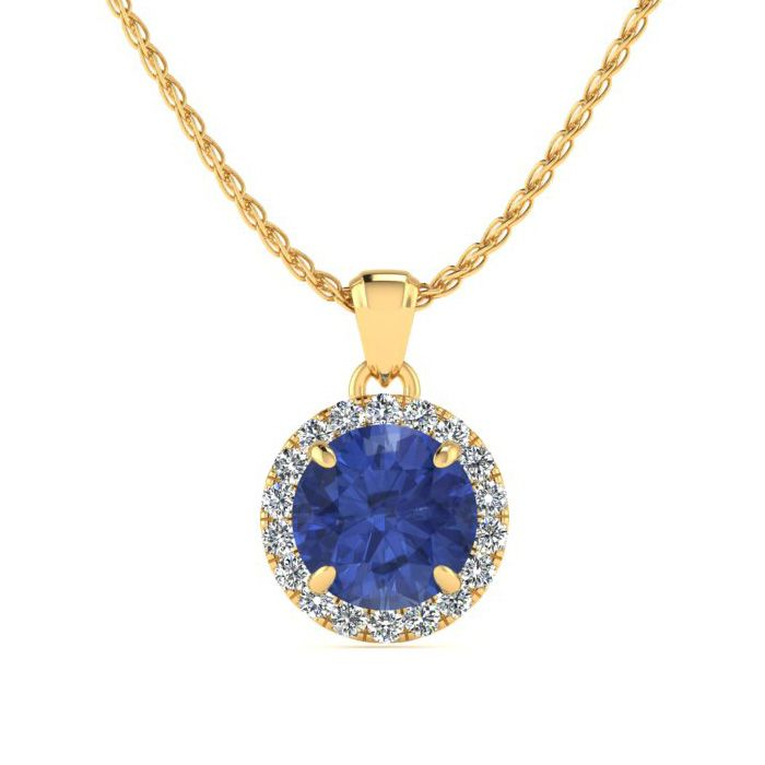 1 Carat Round Shape Tanzanite & Halo Diamond Necklace in 14K Yell