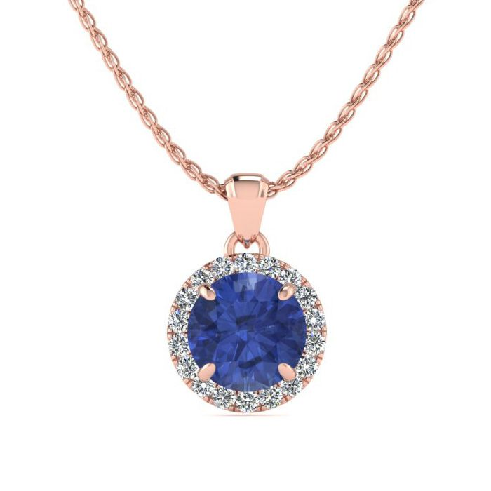 1 Carat Round Shape Tanzanite & Halo Diamond Necklace in 14K Rose