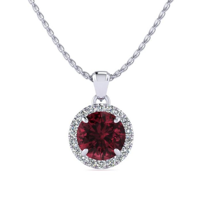 1.25 Carat Round Shape Garnet & Halo Diamond Necklace in 14K Whit