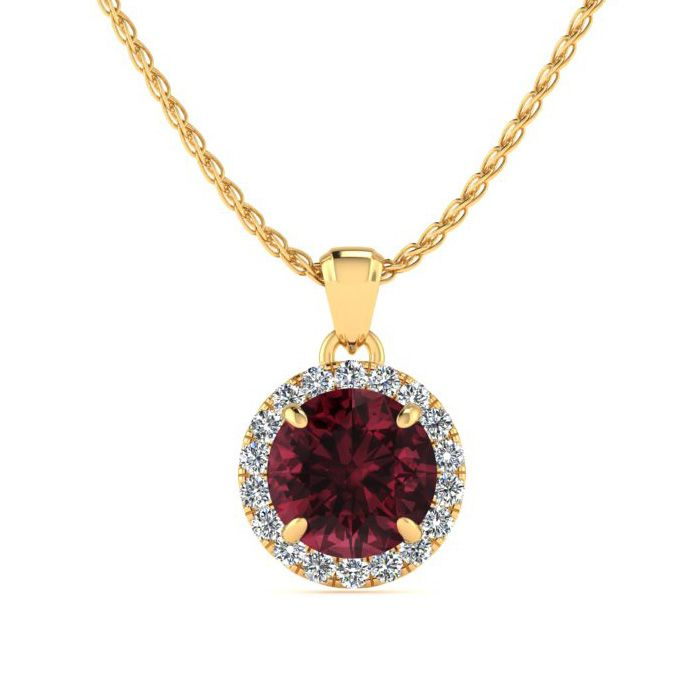 1.25 Carat Round Shape Garnet & Halo Diamond Necklace in 14K Yell