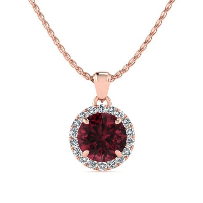 1.25 Carat Round Shape Garnet & Halo Diamond Necklace in 14K Rose