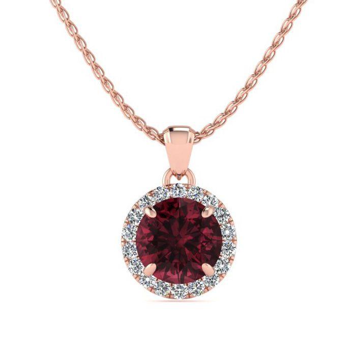 1.25 Carat Round Shape Garnet & Halo Diamond Necklace in 14K Rose