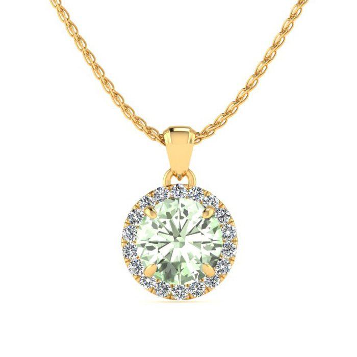 3/4 Carat Round Shape Green Amethyst & Halo Diamond Necklace in 1