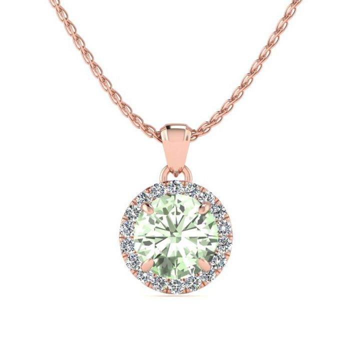 3/4 Carat Round Shape Green Amethyst & Halo Diamond Necklace in 14K Rose Gold (1.4 g), H/I, 18 Inch Chain by SuperJeweler