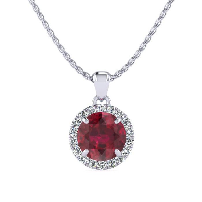 1 Carat Round Shape Ruby & Halo Diamond Necklace in 14K White Gol