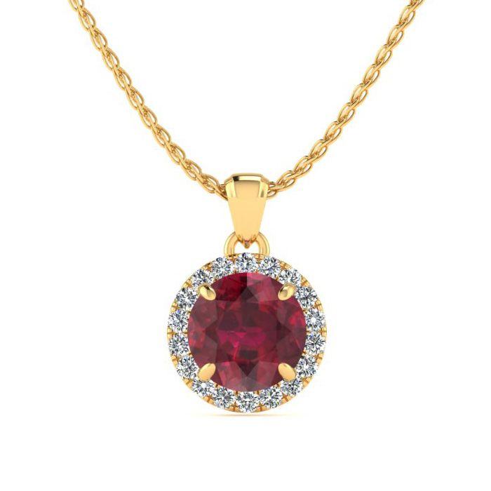 1 Carat Round Shape Ruby & Halo Diamond Necklace in 14K Yellow Go