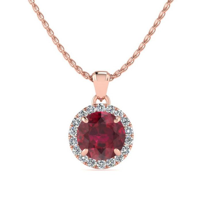 1 Carat Round Shape Ruby & Halo Diamond Necklace in 14K Rose Gold