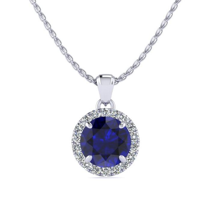 1 Carat Round Shape Sapphire & Halo Diamond Necklace in 14K White